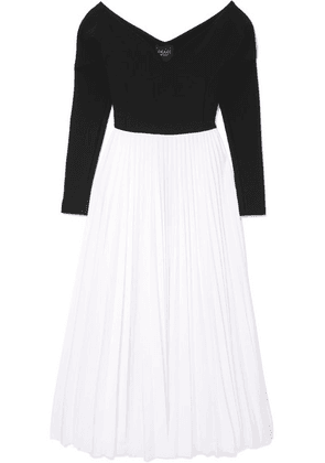 A.W.A.K.E. MODE - Grace Off-the-shoulder Pleated Stretch-cady And Crepe Maxi Dress - Black