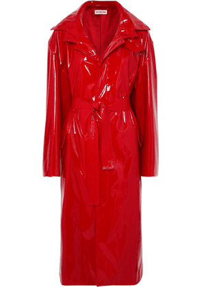 Balenciaga - Belted Vinyl Trench Coat - Red