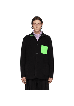 Harris Wharf London Black and Green Polaire Dropped Shoulders Jacket