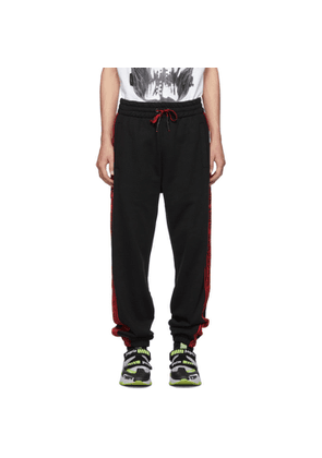 Palm Angels Black and Red Side Tape Lounge Pants