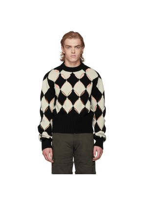 Stefan Cooke Black and White Slashed Sweater