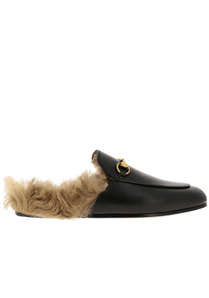 Ballet Pumps Princetown Gucci Genuine Leather Sandals With Metal Horsebit And Fur Lining