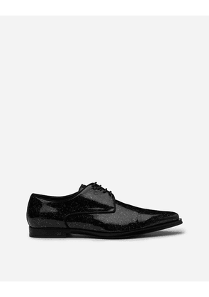Dolce & Gabbana Lace-Ups - DERBY IN DROP-STYLE PATENT LEATHER BLACK/SILVER