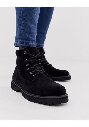 ASOS DESIGN lace up boot in black faux suede with padded cuff detail