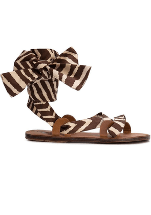 Brown Women's Zebra Flat Sandals