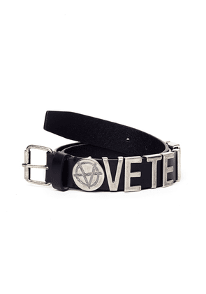 Vetements Black Leather Logo Belt