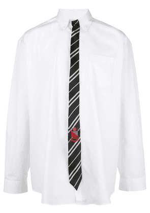 White Men's Tie Long Sleeve Shirt