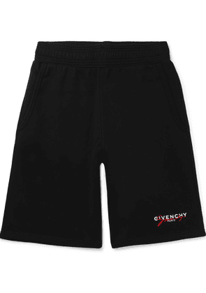 Givenchy - Wide-leg Logo-embroidered Loopback Cotton-jersey Shorts - Black