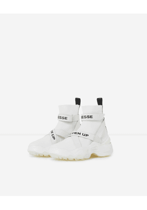 The Kooples - Slick white high-top trainers with text - WOMEN