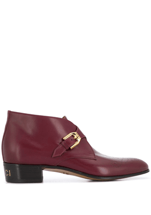 Gucci monogram detail ankle boots - Red