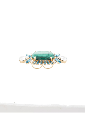 Dolce & Gabbana crystal embellished double ring - Green