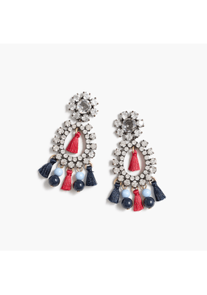 Crystal and tassel earrings