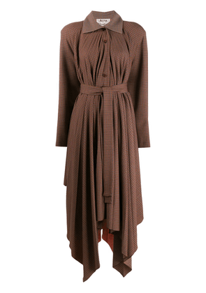Acne Studios checked pleated coat - Brown