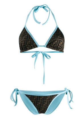 Fendi reversible FF print triangle bikini - Brown