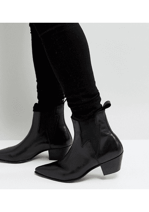 ASOS DESIGN Wide Fit cuban heel western boots in black leather with lightning detail
