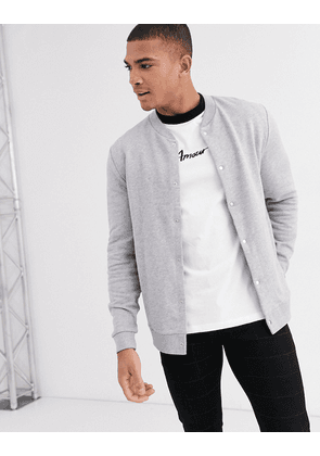 ASOS DESIGN jersey bomber jacket with poppers in grey