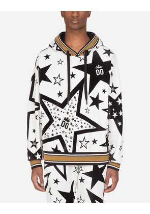Dolce & Gabbana Collection - JERSEY HOODIE WITH FLOCKED STAR PRINT CREAM