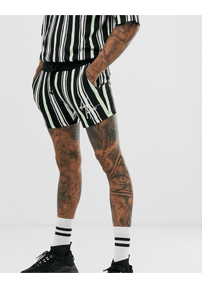 ASOS DESIGN co-ord jersey skinny shorter length shorts with stripes with dark future logo-Multi
