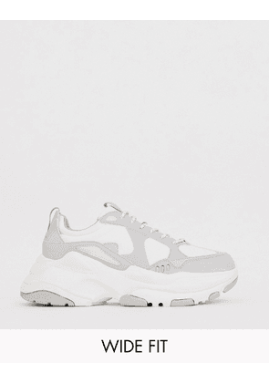 ASOS DESIGN Wide Fit trainers in white mix mesh with chunky sole