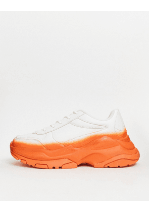 ASOS DESIGN trainers with orange spray and chunky sole-White
