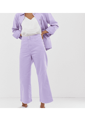 Weekday wide leg cropped jeans in lilac-Purple