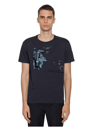 Cotton T-shirt W/ Space Land Embroidery