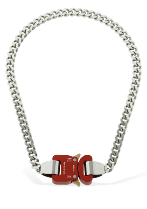 Classic Chainlink Necklace W/ Red Buckle