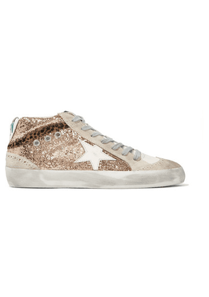 Golden Goose - Mid Star Glittered Distressed Leather And Suede Sneakers - IT40