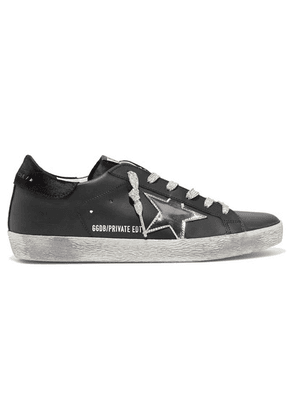 Golden Goose - Superstar Distressed Leather And Suede Sneakers - Black