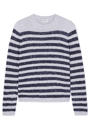 SAINT LAURENT - Striped Sequined Stretch-knit Sweater - Silver