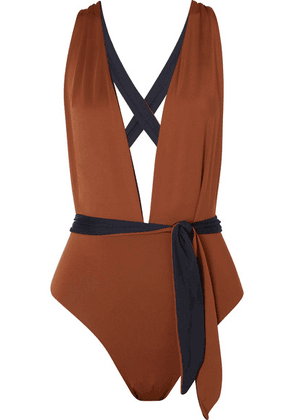 Skin - The Domino Reversible Swimsuit - Brown
