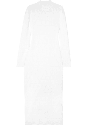 Fendi - Cotton-blend Jacquard-knit Midi Dress - White