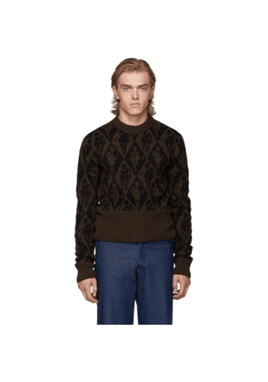 Stefan Cooke Brown and Black Jacquard Sweater