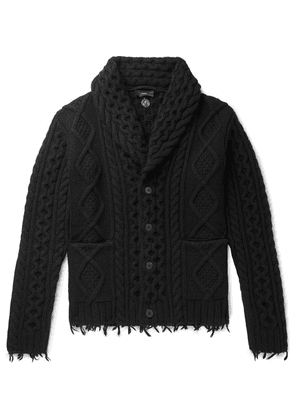 Alanui - Fringed Shawl-collar Cable-knit Wool And Cashmere-blend Cardigan - Black