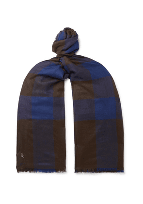 Anderson & Sheppard - Fringed Checked Cashmere Scarf - Navy