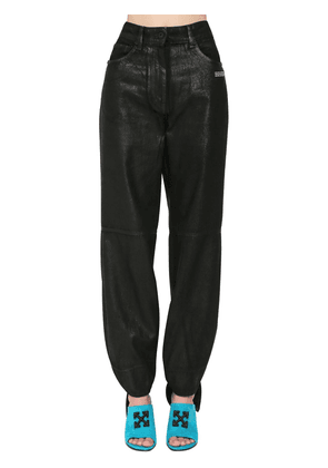 Tied Ankles Coated Wide Leg Jeans