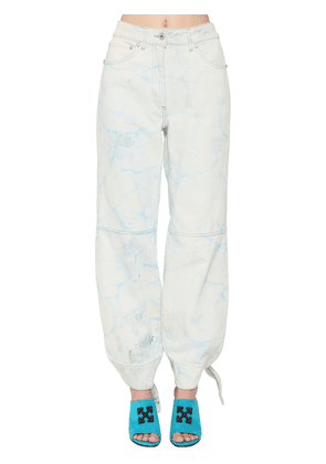 Tied Ankles Bleached Wide Leg Jeans