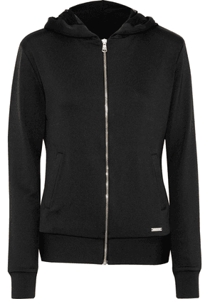 Versace Crystal-embellished Stretch-jersey Hoodie Woman Black Size II
