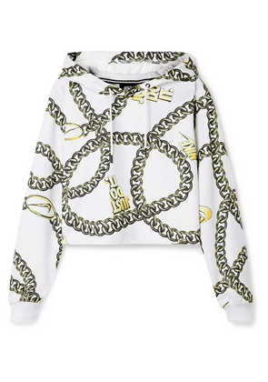 Nike - Glam Dunk Cropped Printed Tech-jersey Hoodie - White