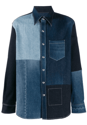 Acne Studios Recrafted patchwork denim shirt - Blue