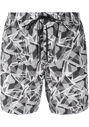 Fendi geometric print swimming shorts - Grey