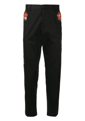 Dolce & Gabbana floral embroidered trousers - Black