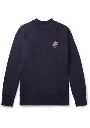 Aimé Leon Dore - + Drake's Logo-embroidered Loopback Cotton-jersey Sweatshirt - Navy