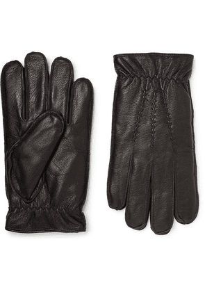 Dents - Faux Fur-lined Leather Gloves - Black