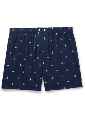 Derek Rose - Nelson 73 Printed Cotton Boxer Shorts - Navy