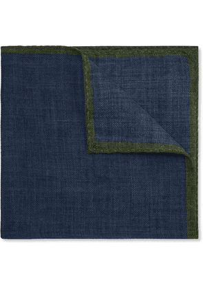 Anderson & Sheppard - Contrast-tipped Wool Pocket Square - Blue