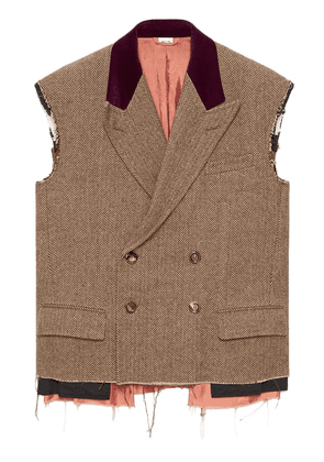 Gucci herringbone sleeveless jacket - Brown
