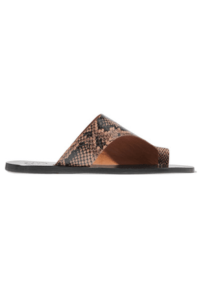 ATP Atelier - Rosa Cutout Snake-effect Leather Sandals - Snake print