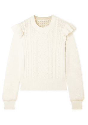 Veronica Beard - Earl Ruffled Cable-knit Cotton-blend Sweater - Off-white