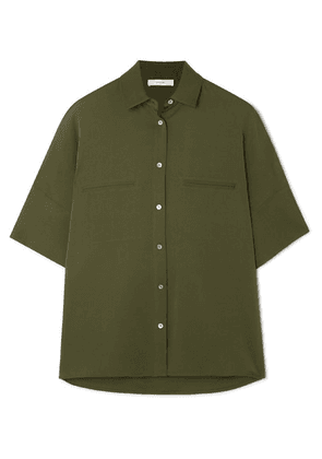 Vince - Stretch-silk Blouse - Army green